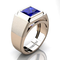 Mens Modern 14K Rose Gold 3.0 Ct Princess Blue Sapphire Sapphire Wedding Ring R1132-14KRGBS