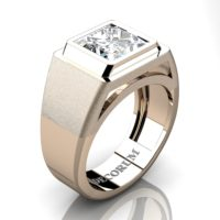 Mens Modern 14K Rose Gold 3.0 Ct Princess White Sapphire Wedding Ring R1132-14KRGWS