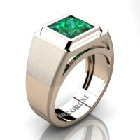 Mens Modern 14K Rose Gold 3.0 Ct Princess Emerald Wedding Ring R1132-14KRGEM