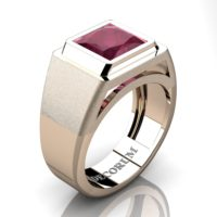 Mens Modern 14K Rose Gold 3.0 Ct Princess Ruby Wedding Ring R1132-14KRGRR