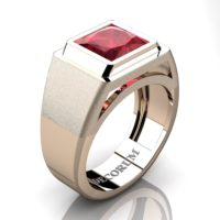 Mens Modern 14K Rose Gold 3.0 Ct Princess Ruby Wedding Ring R1132-14KRGR