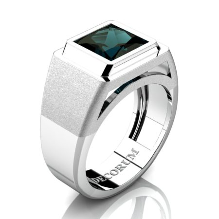 Decorum-Mens-Modern-14K-White-Gold-3-Carat-Princess-Alexandrite-Wedding-Ring-R1132-14KWGAL