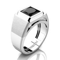 Mens Modern 14K White Gold 3.0 Ct Princess Black Sapphire Wedding Ring R1132-14KWGBLS