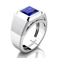 Mens Modern 14K White Gold 3.0 Ct Princess Blue Sapphire Wedding Ring R1132-14KWGBS