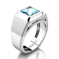 Mens Modern 14K White Gold 3.0 Ct Princess Blue Topaz Wedding Ring R1132-14KWGBT
