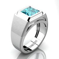 Mens Modern 14K White Gold 3.0 Ct Princess Certified Blue Diamond Wedding Ring R1132-14KWGVSBLD