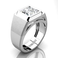 Mens Modern 14K White Gold 3.0 Ct Princess White Sapphire Wedding Ring R1132-14KWGWS