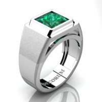 Mens Modern 14K White Gold 3.0 Ct Princess Emerald Wedding Ring R1132-14KWGEM