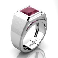 Mens Modern 14K White Gold 3.0 Ct Princess Ruby Wedding Ring R1132-14KWGRR