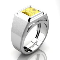 Mens Modern 14K White Gold 3.0 Ct Princess Yellow Sapphire Wedding Ring R1132-14KWGYS