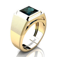 Mens Modern 14K Yellow Gold 3.0 Ct Princess Alexandrite Wedding Ring R1132-14KYGAL