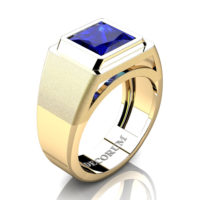 Mens Modern 14K Yellow Gold 3.0 Ct Princess Blue Sapphire Wedding Ring R1132-14KYGBS