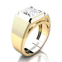Mens Modern 14K Yellow Gold 3.0 Ct Princess White Sapphire Wedding Ring R1132-14KYGWS