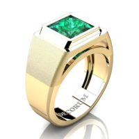 Mens Modern 14K Yellow Gold 3.0 Ct Princess Emerald Wedding Ring R1132-14KYGEM