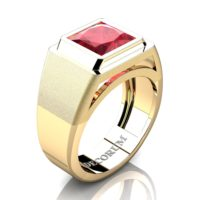 Mens Modern 14K Yellow Gold 3.0 Ct Princess Ruby Wedding Ring R1132-14KYGR