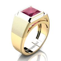 Mens Modern 14K Yellow Gold 3.0 Ct Princess Ruby Wedding Ring R1132-14KYGRR