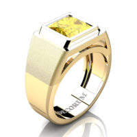 Mens Modern 14K Yellow Gold 3.0 Ct Princess Yellow Sapphire Wedding Ring R1132-14KYGYS