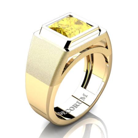 Decorum-Mens-Modern-14K-Yellow-Gold-3-Carat-Princess-Yellow-Sapphire-Wedding-Ring-R1132-14KYGYS